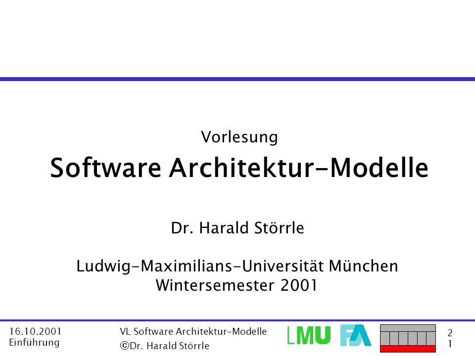 Vorlesung Software Architektur-Modelle