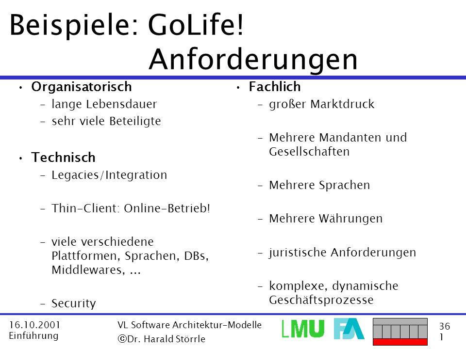 Beispiele: GoLife! Anforderungen