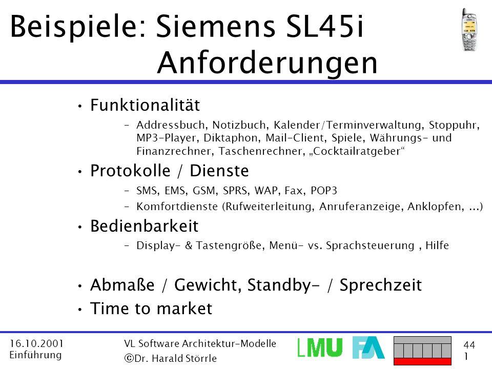 Beispiele: Siemens SL45i Anforderungen