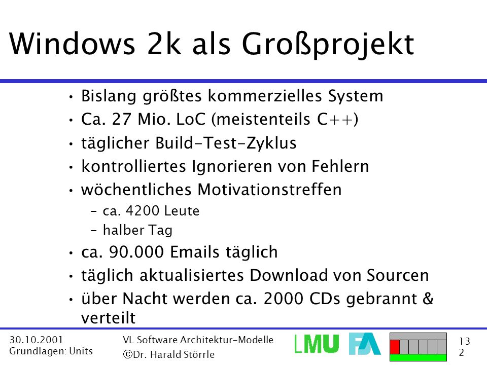 Windows 2k als Großprojekt