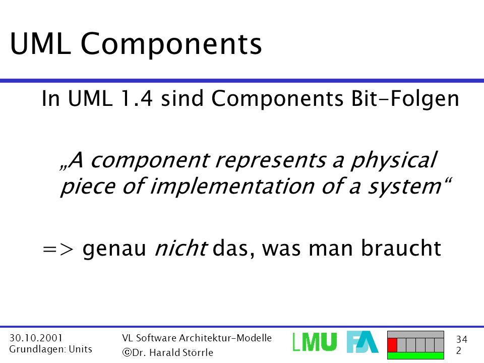 UML Components In UML 1.4 sind Components Bit-Folgen