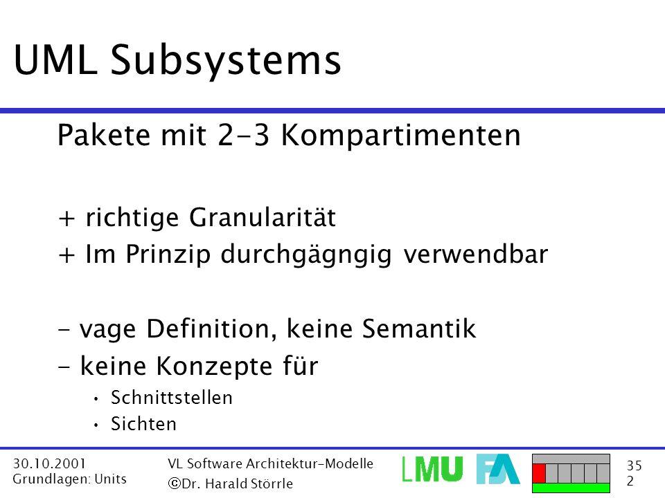 UML Subsystems Pakete mit 2-3 Kompartimenten + richtige Granularität
