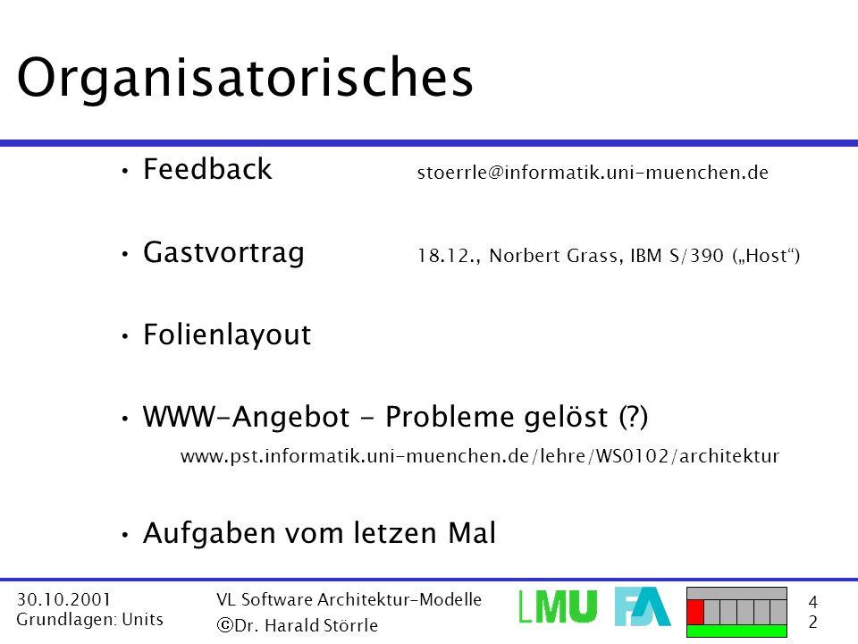 Organisatorisches Feedback stoerrle@informatik.uni-muenchen.de