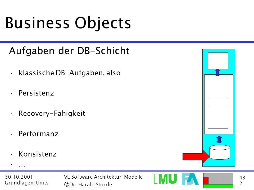 Business Objects Aufgaben der DB-Schicht klassische DB-Aufgaben, also
