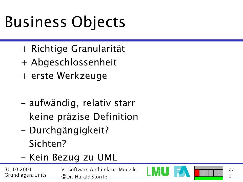 Business Objects + Richtige Granularität + Abgeschlossenheit
