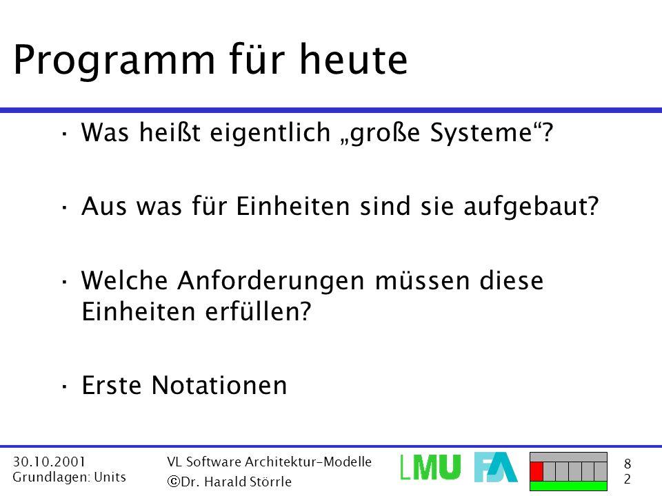 """Programm für heute Was heißt eigentlich """"große Systeme"""