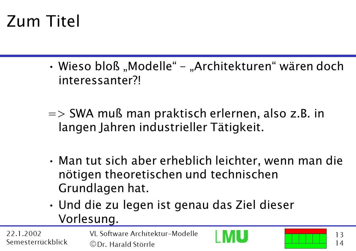 """Zum Titel Wieso bloß """"Modelle - """"Architekturen wären doch interessanter !"""