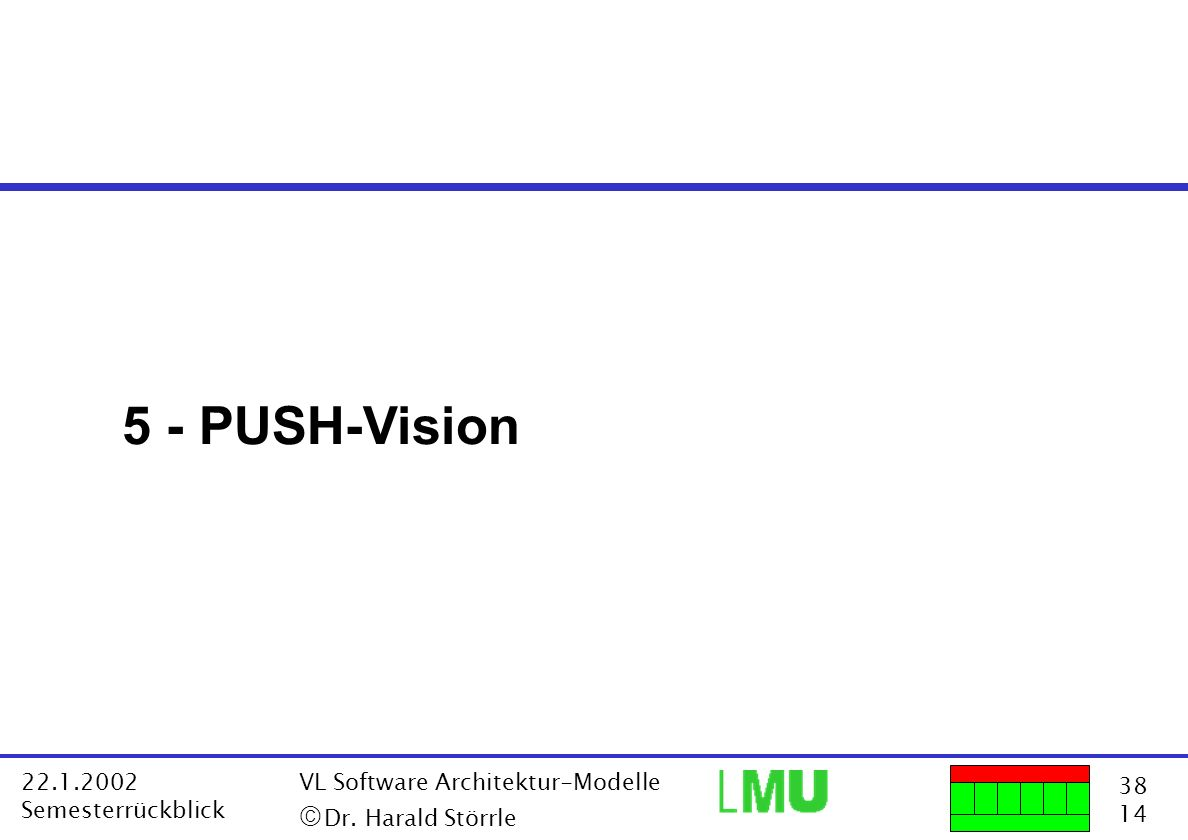 5 - PUSH-Vision ã Dr. Harald Störrle 22.1.2002 Semesterrückblick