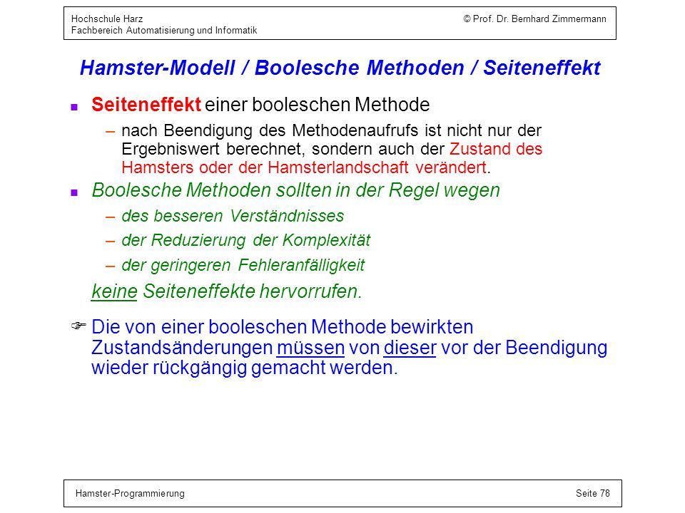 Hamster-Modell / Boolesche Ausdrücke