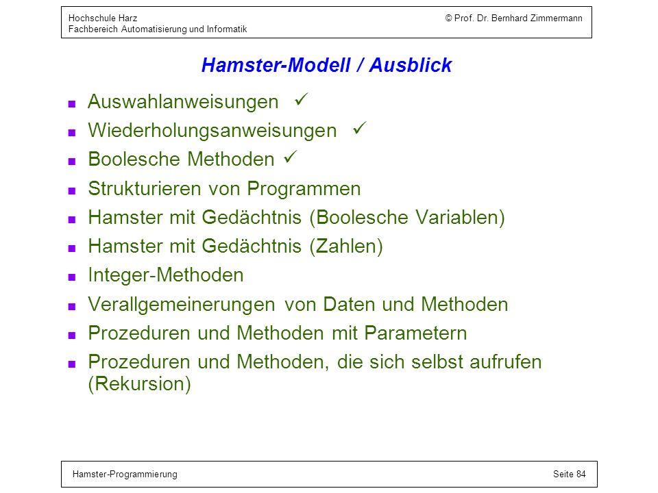 Hamster-Modell / Blockanweisung / Beispiele