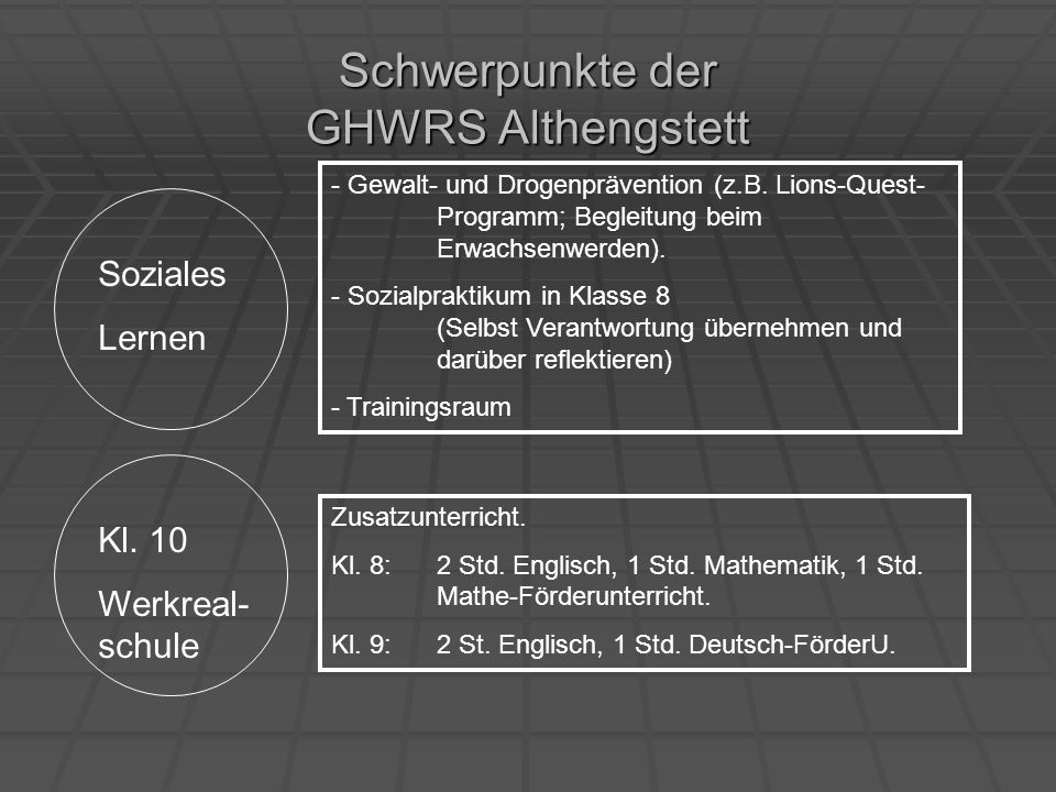 Schwerpunkte der GHWRS Althengstett