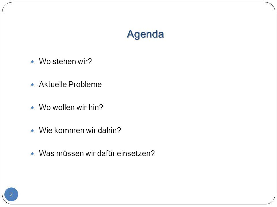 Agenda Wo stehen wir Aktuelle Probleme Wo wollen wir hin