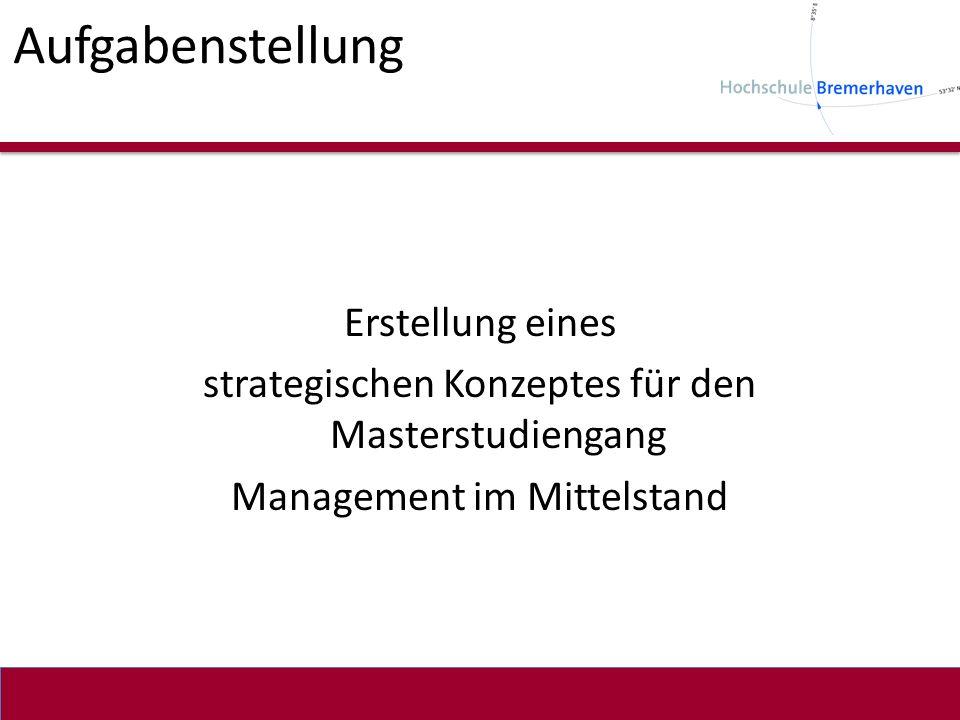 Aufgabenstellung Erstellung eines strategischen Konzeptes für den Masterstudiengang Management im Mittelstand