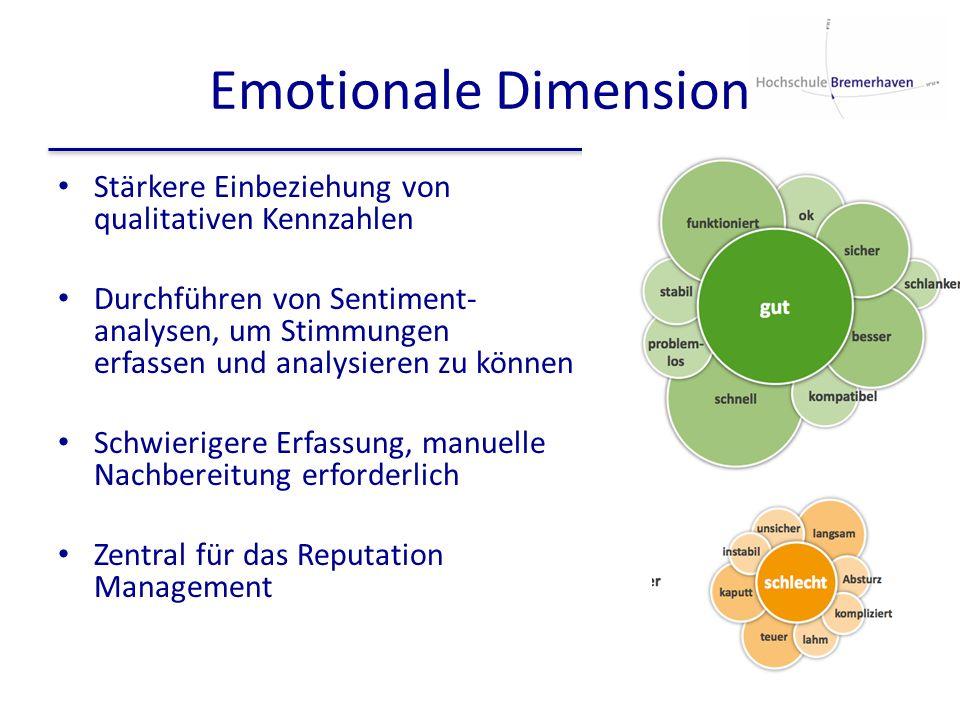 Emotionale Dimension Stärkere Einbeziehung von qualitativen Kennzahlen
