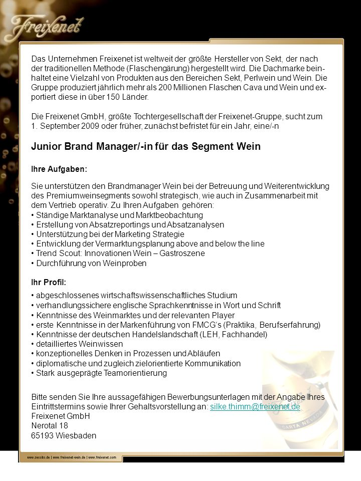Junior Brand Manager/-in für das Segment Wein