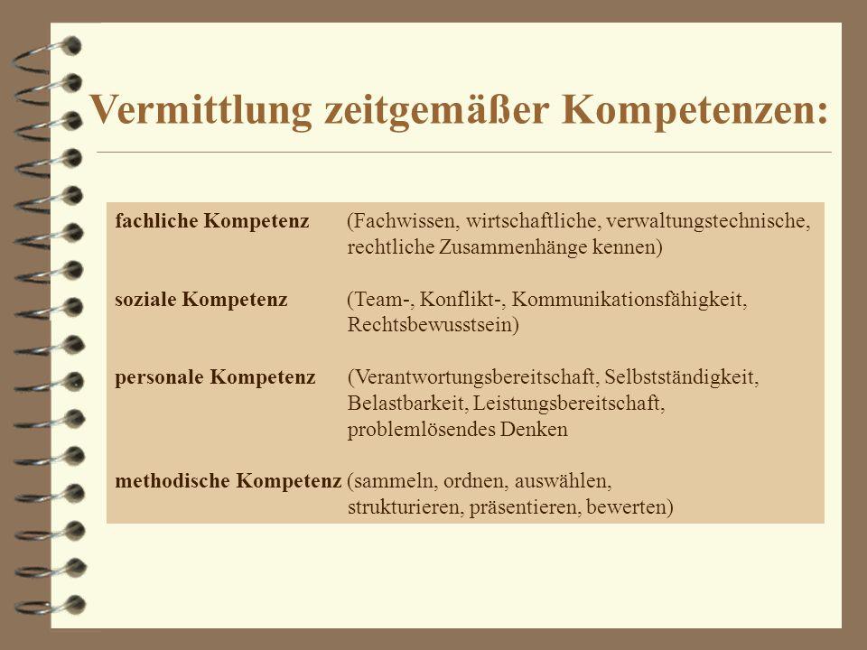 Vermittlung zeitgemäßer Kompetenzen: