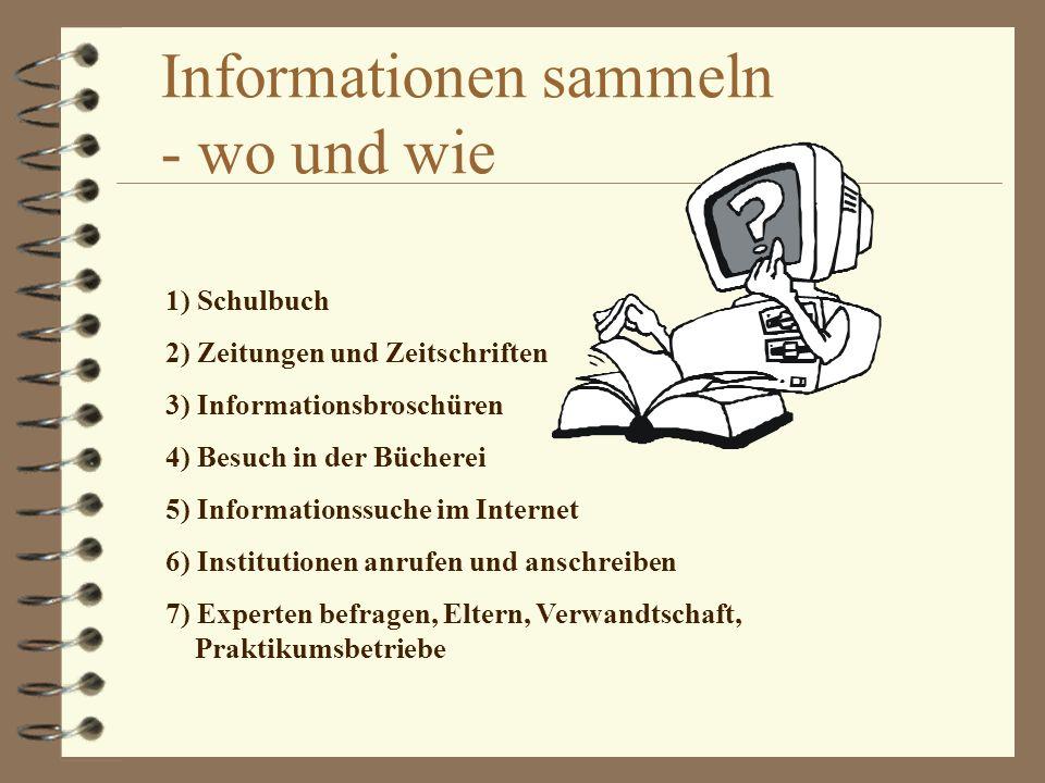 Informationen sammeln - wo und wie