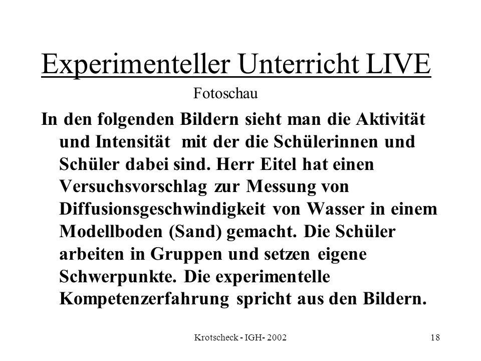 Experimenteller Unterricht LIVE