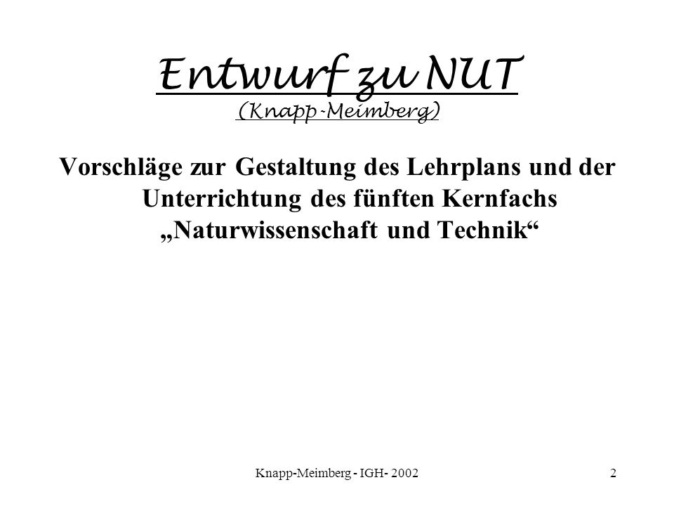 Entwurf zu NUT (Knapp-Meimberg)