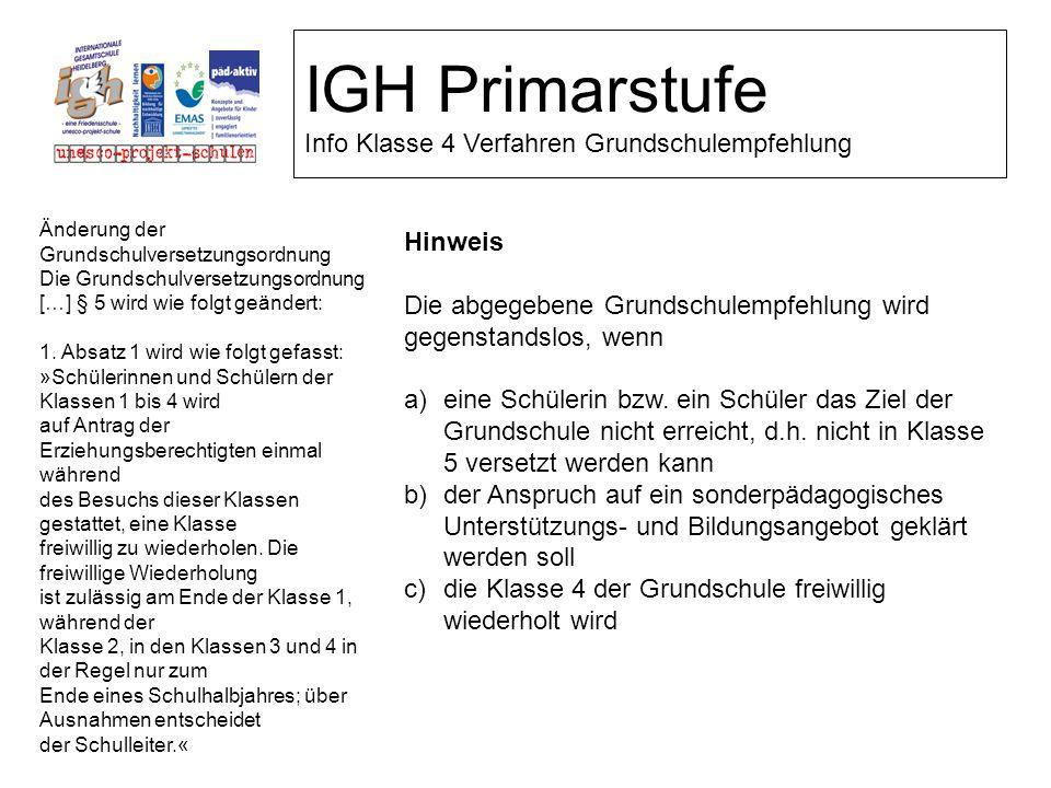 IGH Primarstufe Info Klasse 4 Verfahren Grundschulempfehlung