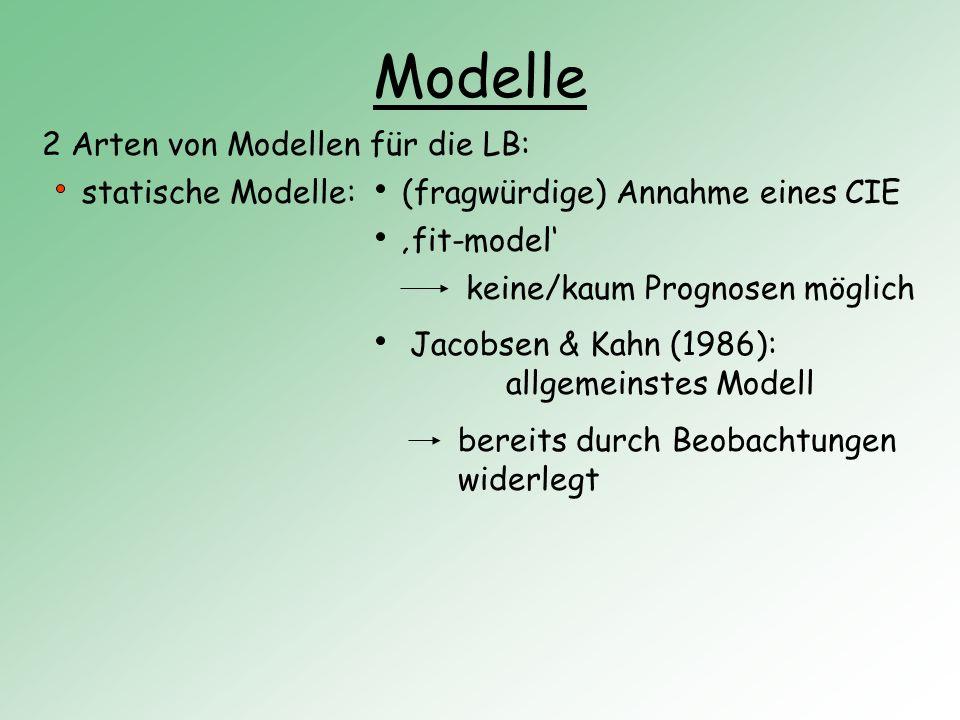 Modelle 2 Arten von Modellen für die LB: statische Modelle: