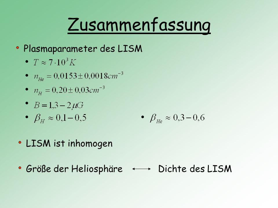Zusammenfassung Plasmaparameter des LISM LISM ist inhomogen