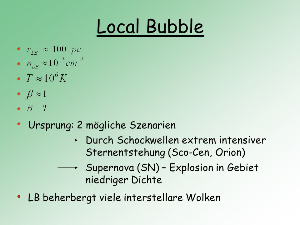 Local Bubble Ursprung: 2 mögliche Szenarien
