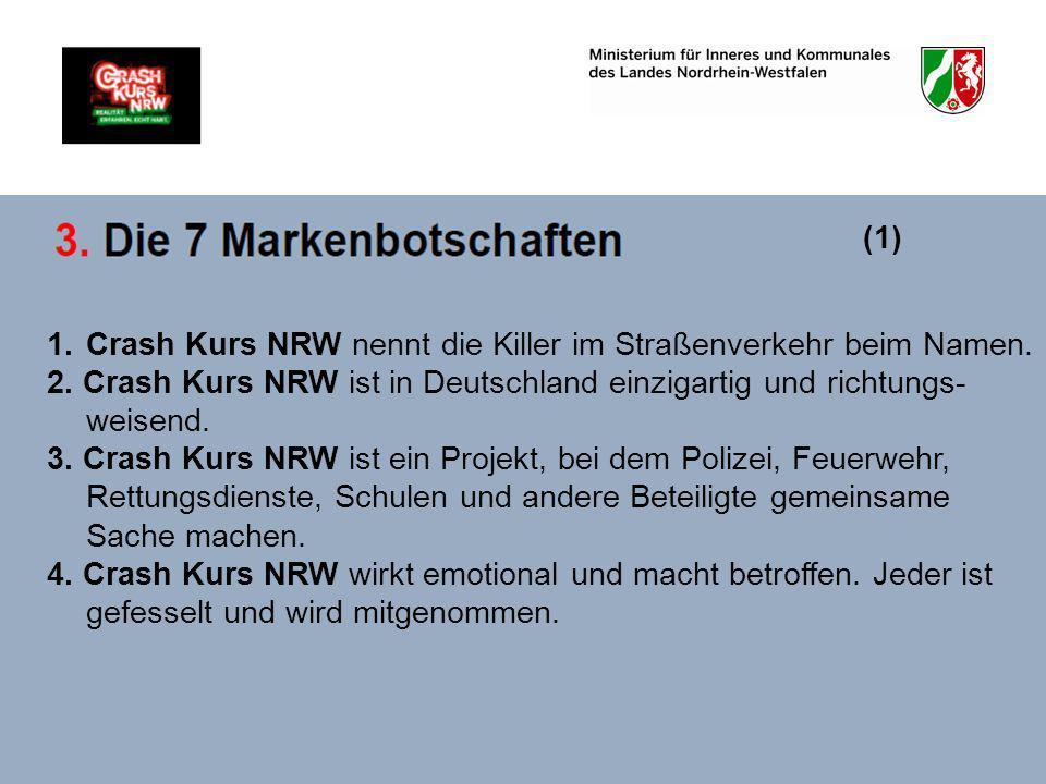 (1) Crash Kurs NRW nennt die Killer im Straßenverkehr beim Namen. 2. Crash Kurs NRW ist in Deutschland einzigartig und richtungs-weisend.