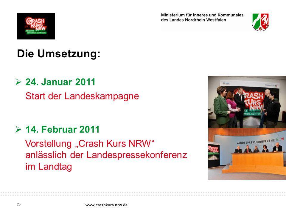 Die Umsetzung: 24. Januar 2011 Start der Landeskampagne