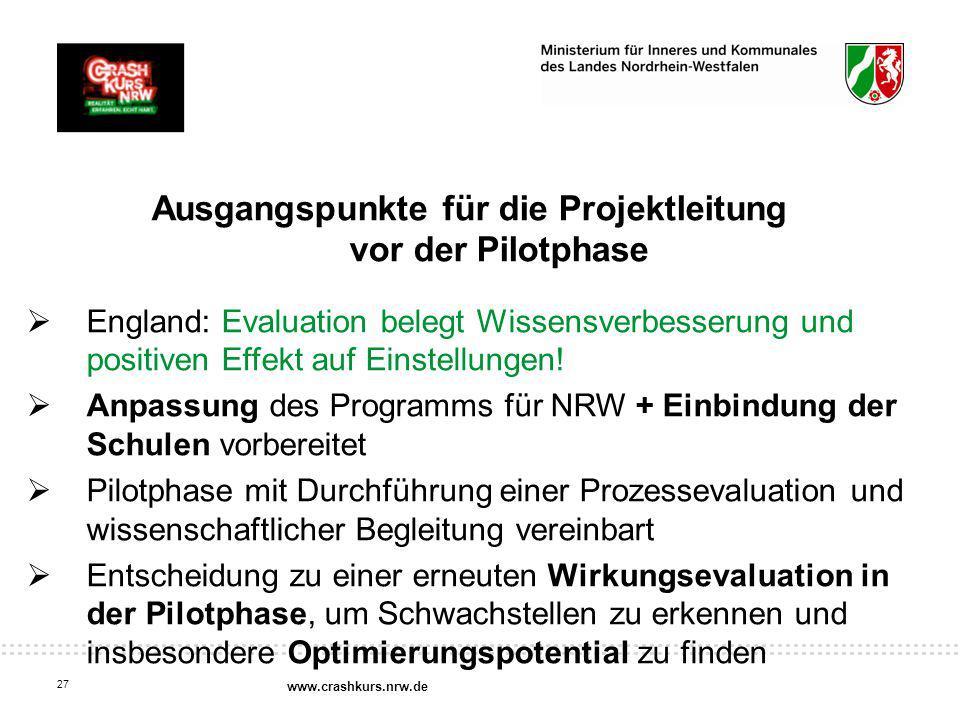 Ausgangspunkte für die Projektleitung vor der Pilotphase