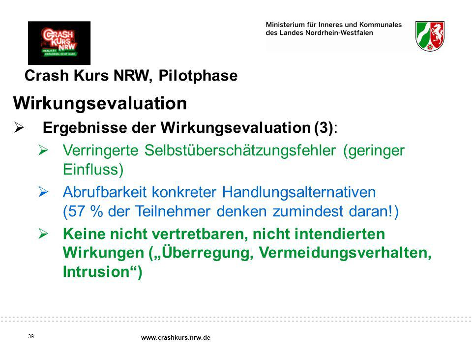 Wirkungsevaluation Crash Kurs NRW, Pilotphase