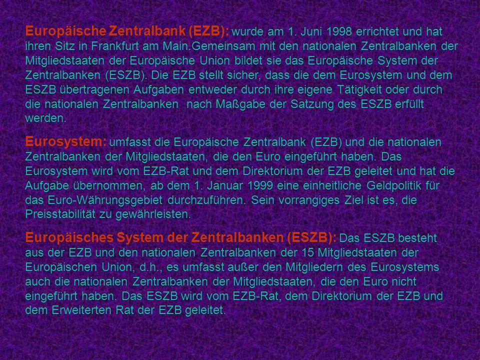 Europäische Zentralbank (EZB): wurde am 1