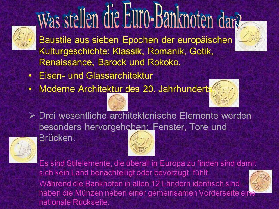 Was stellen die Euro-Banknoten dar