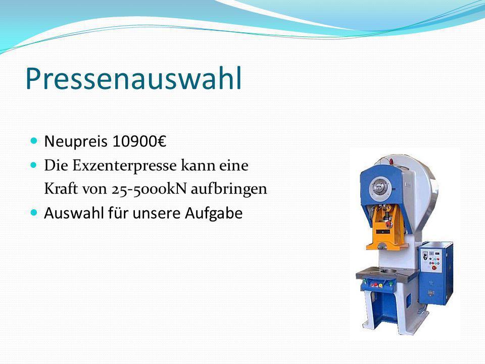 Pressenauswahl Neupreis 10900€ Auswahl für unsere Aufgabe