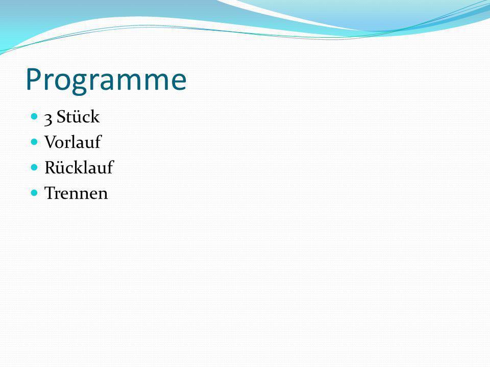 Programme 3 Stück Vorlauf Rücklauf Trennen