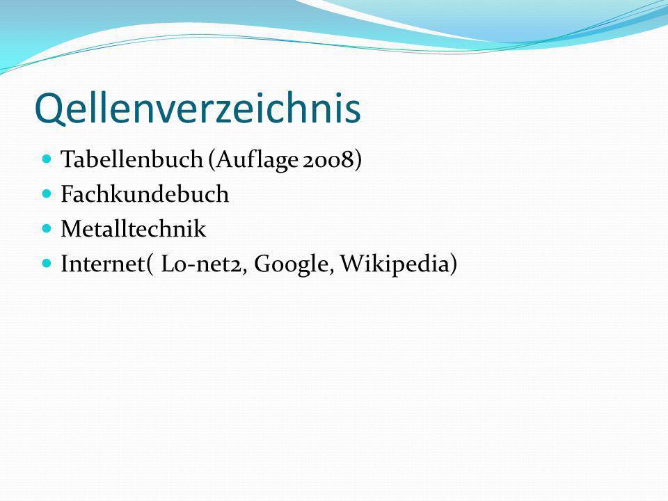 Qellenverzeichnis Tabellenbuch (Auflage 2008) Fachkundebuch
