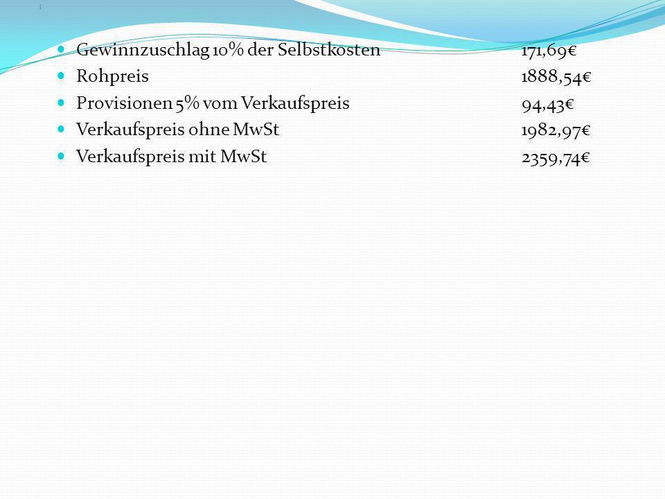 Gewinnzuschlag 10% der Selbstkosten 171,69€ Rohpreis 1888,54€