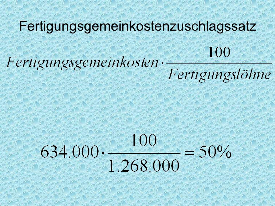 Fertigungsgemeinkostenzuschlagssatz