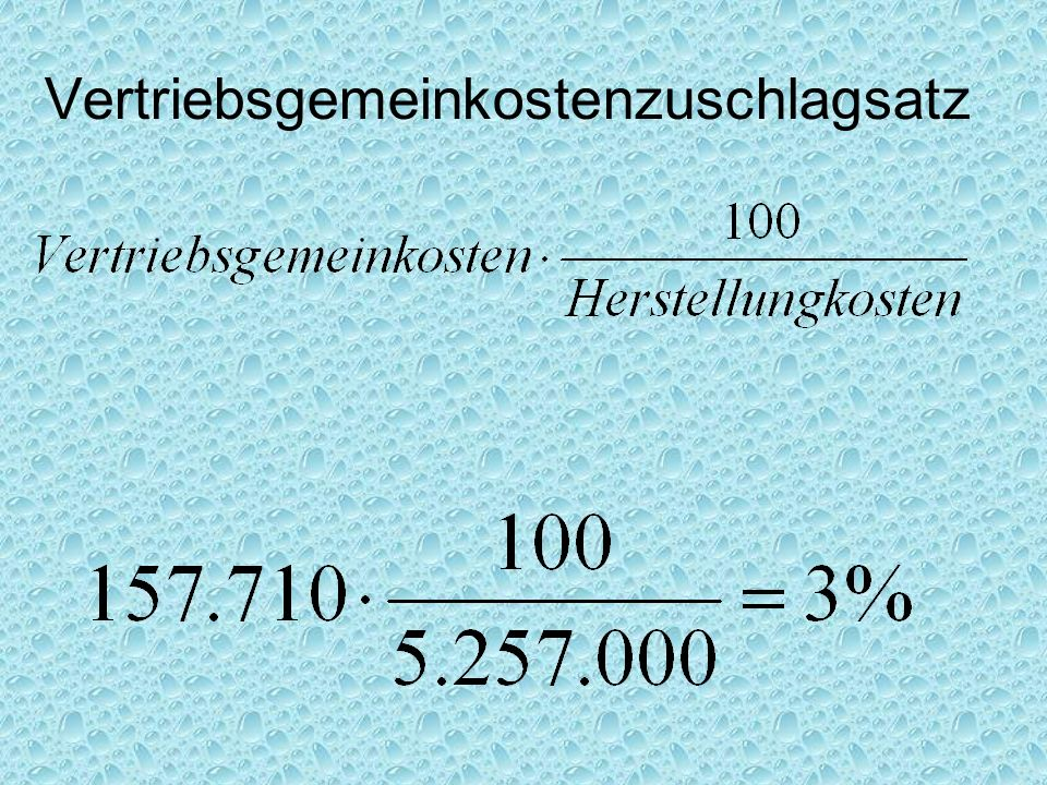 Vertriebsgemeinkostenzuschlagsatz