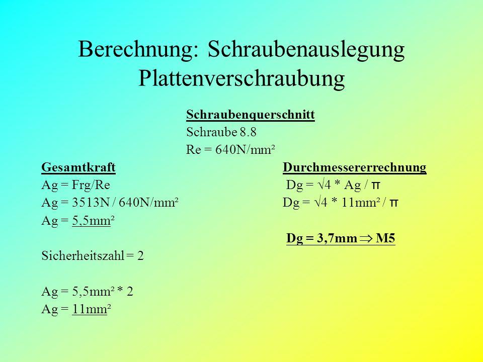 Berechnung: Schraubenauslegung Plattenverschraubung