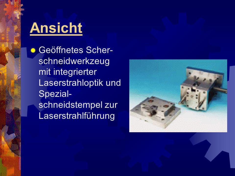 Ansicht Geöffnetes Scher-schneidwerkzeug mit integrierter Laserstrahloptik und Spezial- schneidstempel zur Laserstrahlführung.