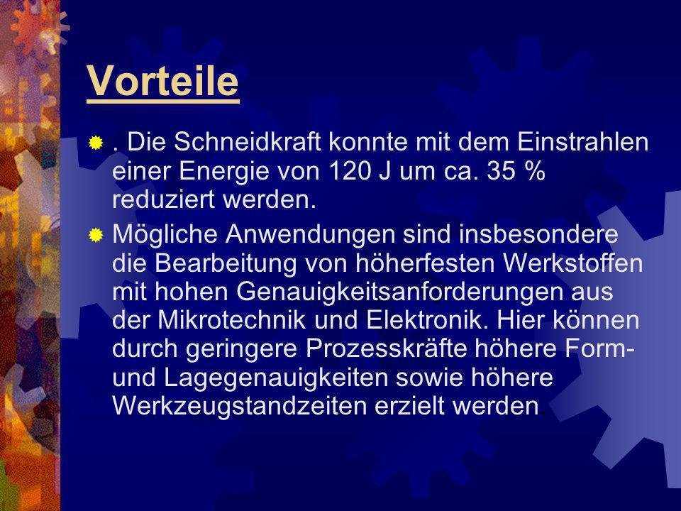 Vorteile . Die Schneidkraft konnte mit dem Einstrahlen einer Energie von 120 J um ca. 35 % reduziert werden.