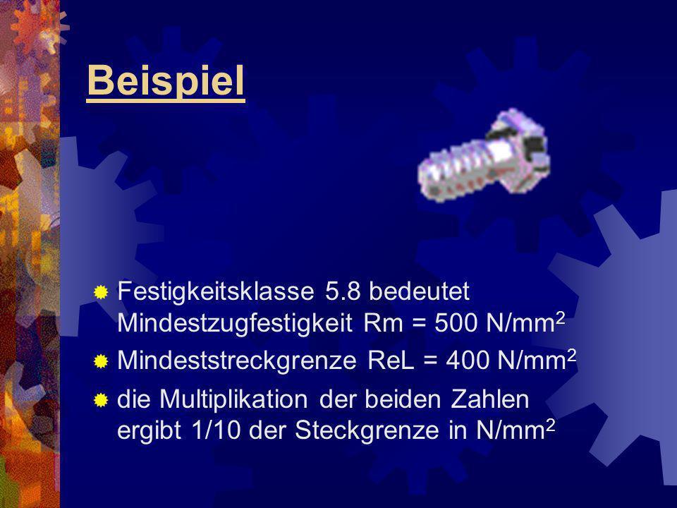 Beispiel Festigkeitsklasse 5.8 bedeutet Mindestzugfestigkeit Rm = 500 N/mm2. Mindeststreckgrenze ReL = 400 N/mm2.