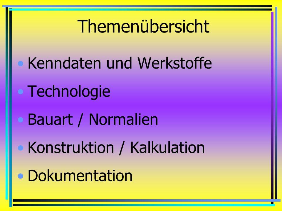 Themenübersicht Kenndaten und Werkstoffe Technologie