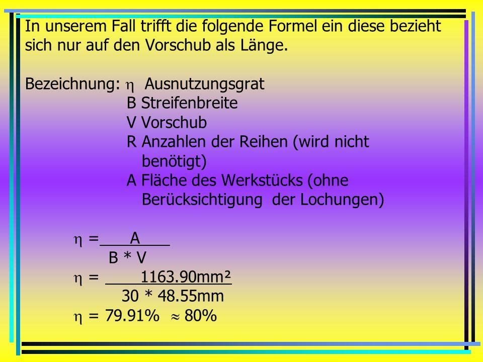 In unserem Fall trifft die folgende Formel ein diese bezieht sich nur auf den Vorschub als Länge.
