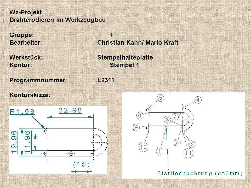 Wz-Projekt Drahterodieren im Werkzeugbau. Gruppe: 1. Bearbeiter: Christian Kahn/ Mario Kraft. Werkstück: Stempelhalteplatte.