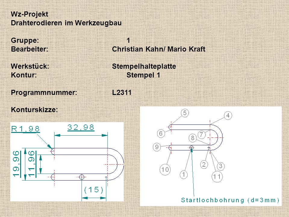 Wz-ProjektDrahterodieren im Werkzeugbau. Gruppe: 1. Bearbeiter: Christian Kahn/ Mario Kraft. Werkstück: Stempelhalteplatte.