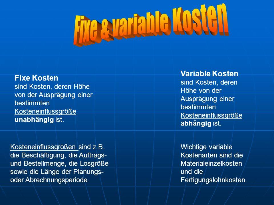 Fixe & variable Kosten Variable Kosten Fixe Kosten