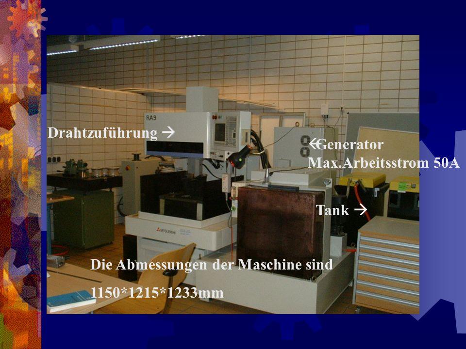 Drahtzuführung  Generator Max.Arbeitsstrom 50A. Tank  Die Abmessungen der Maschine sind.