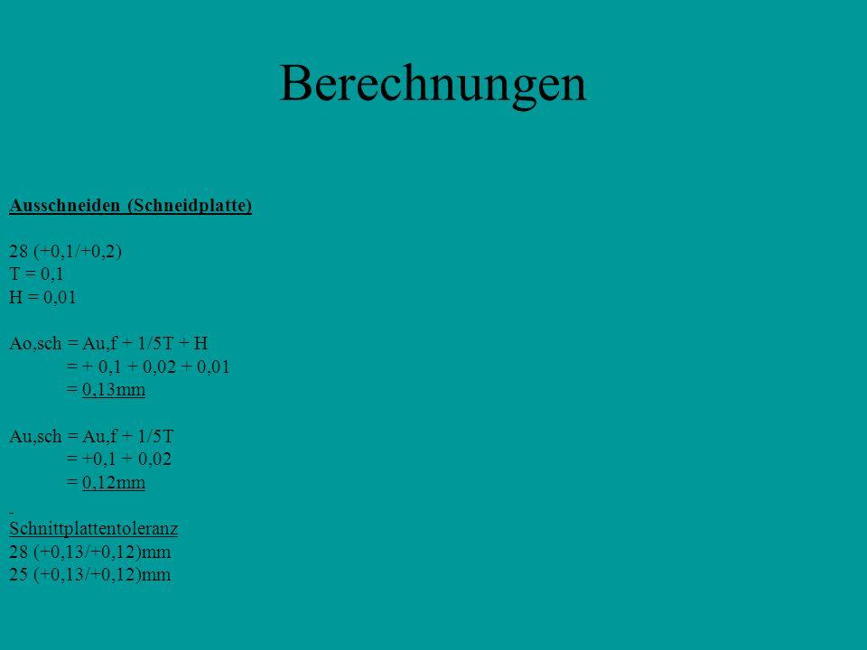 Berechnungen Ausschneiden (Schneidplatte) 28 (+0,1/+0,2) T = 0,1